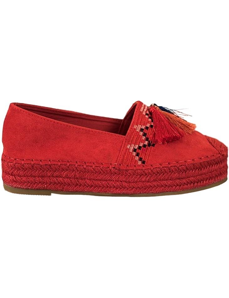 červené semišové espadrilky so strapcami vel. 36