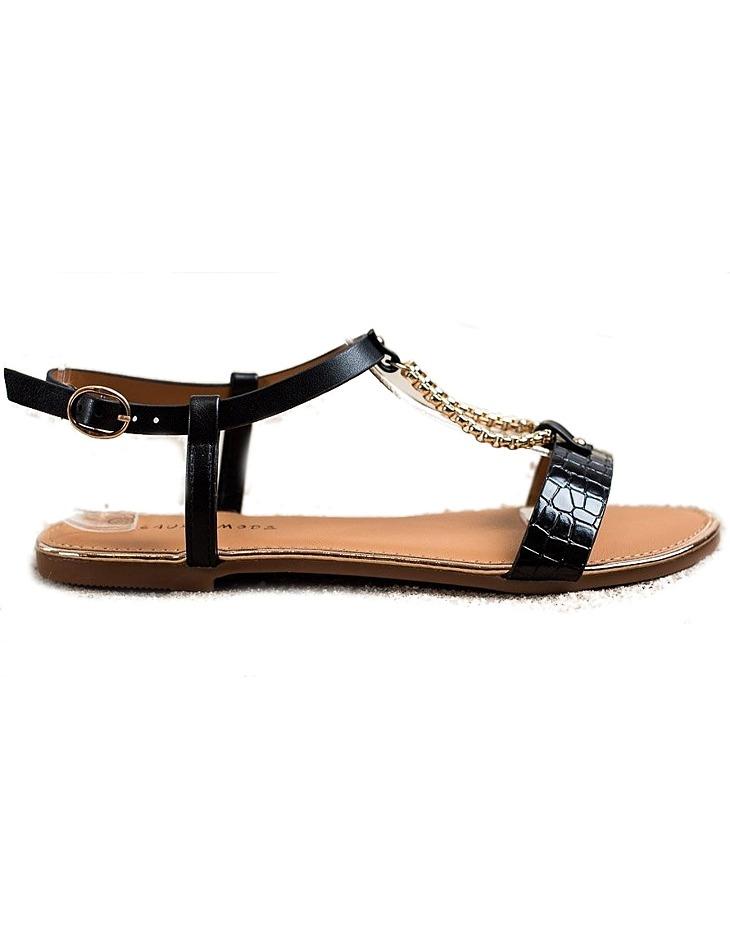 čierne sandálky s ozdobným retiazkou vel. 37