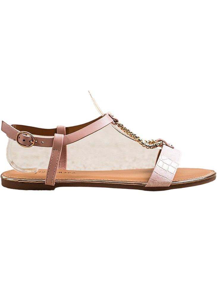 Ružové sandálky s ozdobným retiazkou vel. 37