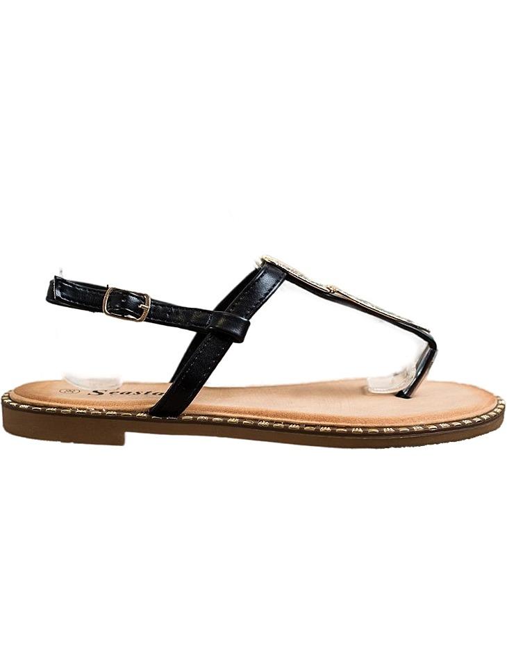 čierne sandálky s ozdobou vel. 36