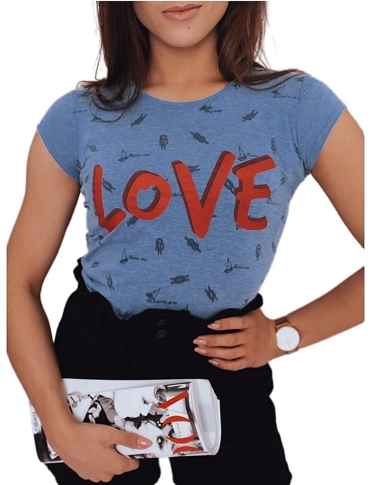 Modré dámske tričko love vel. L