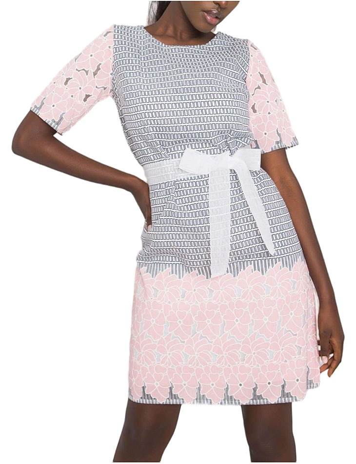 šedo-ružové ĺanové vzorované šaty martina vel. 42