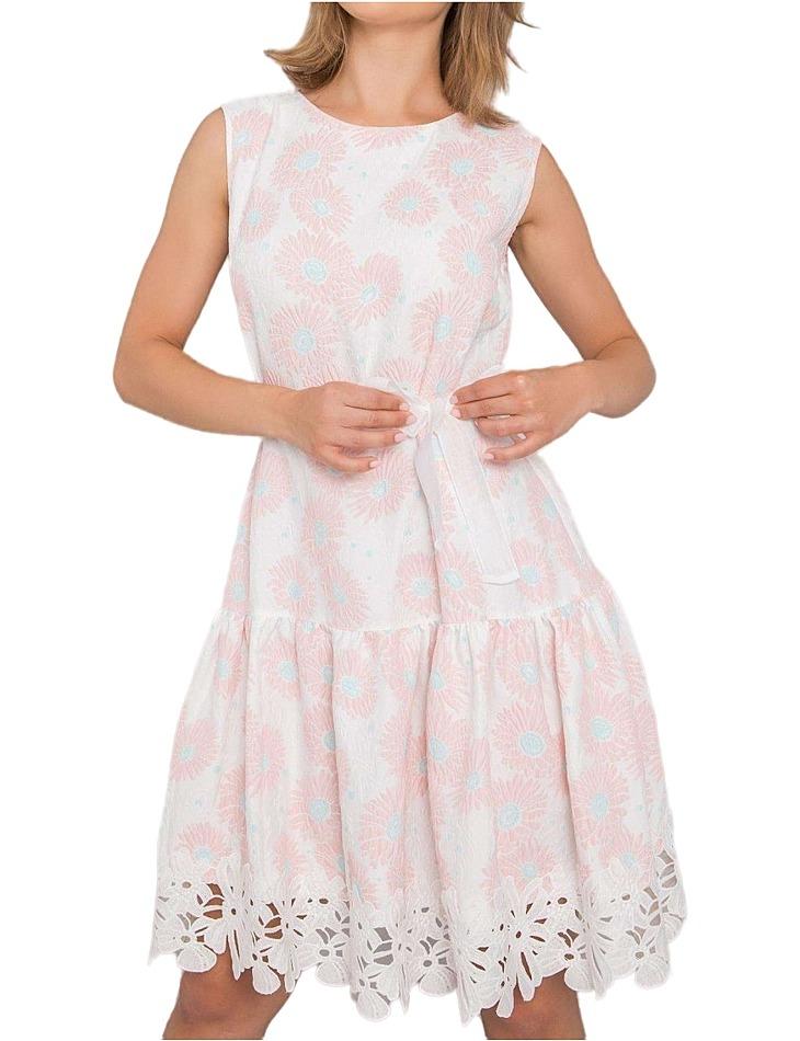 Bielo-ružové kvetinové šaty rousey vel. 42