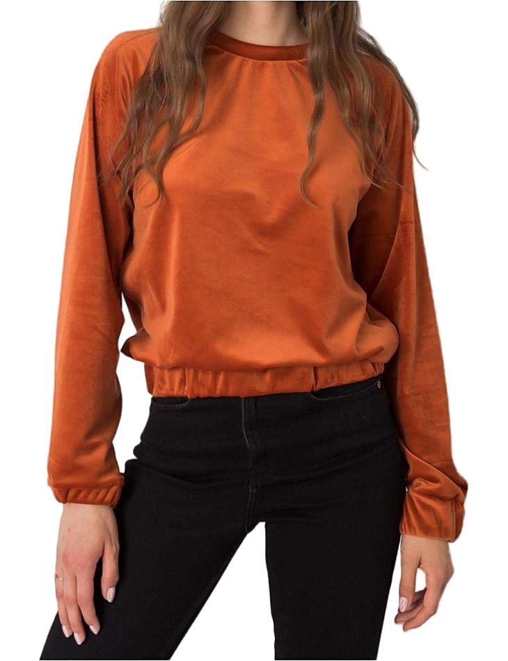Tmavo oranžová velúrová dámska mikina vel. L