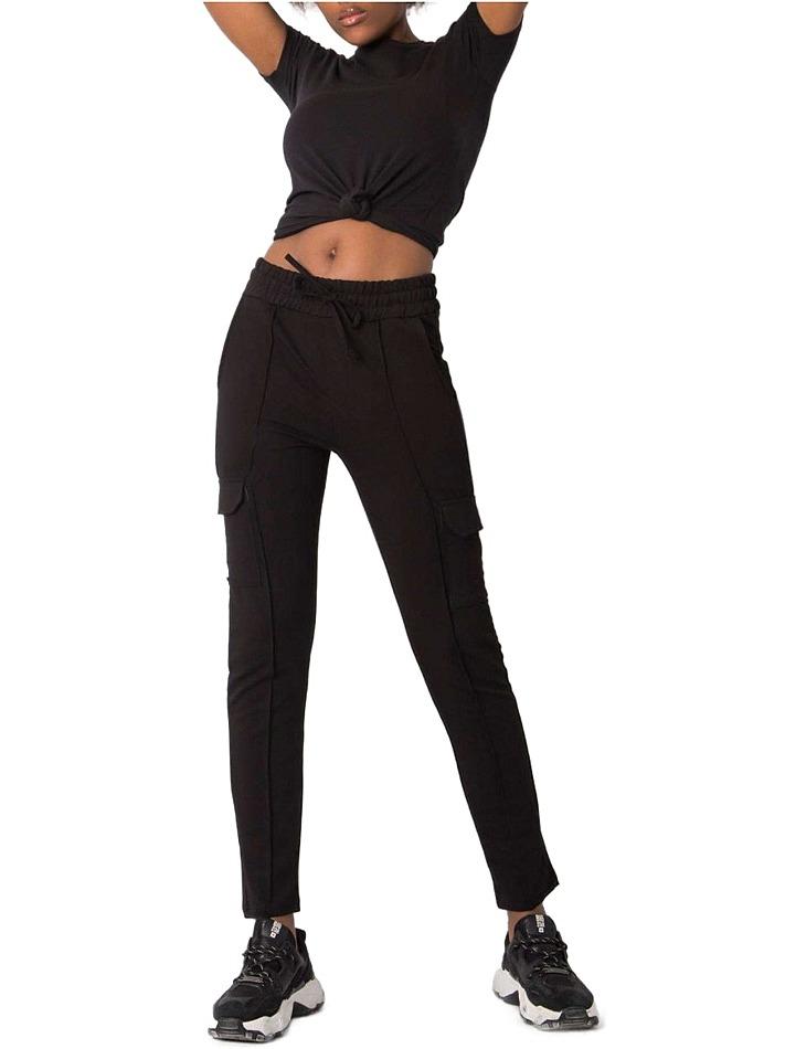 čierne dámske nohavice s vreckami vel. L