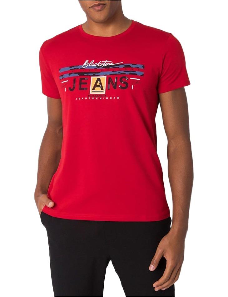 Bordó pánske tričko s potlačou jeans vel. 2XL