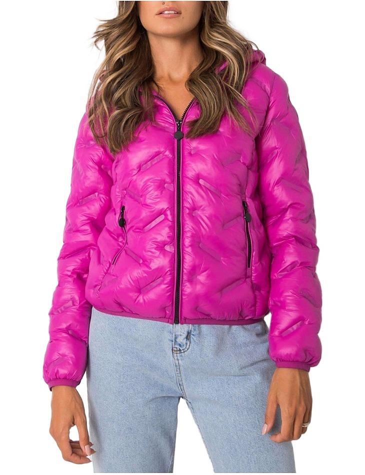 Ružová dámska krátka zimná bunda vel. L