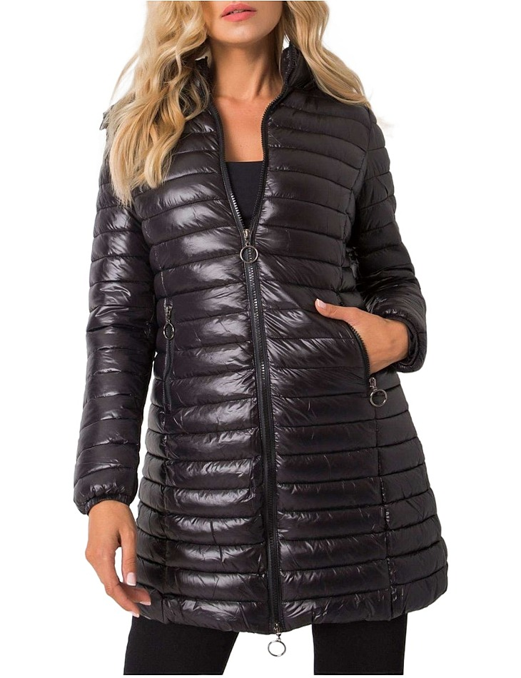 čierna lesklá prešívaná zimná bunda vel. S