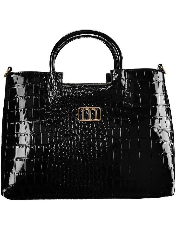 čierna lakovaná kabelka s imitáciou krokodílej kože monnari vel. ONE SIZE