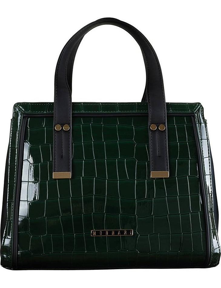 Zeleno-čierna lakovaná kabelka monnari vel. ONE SIZE