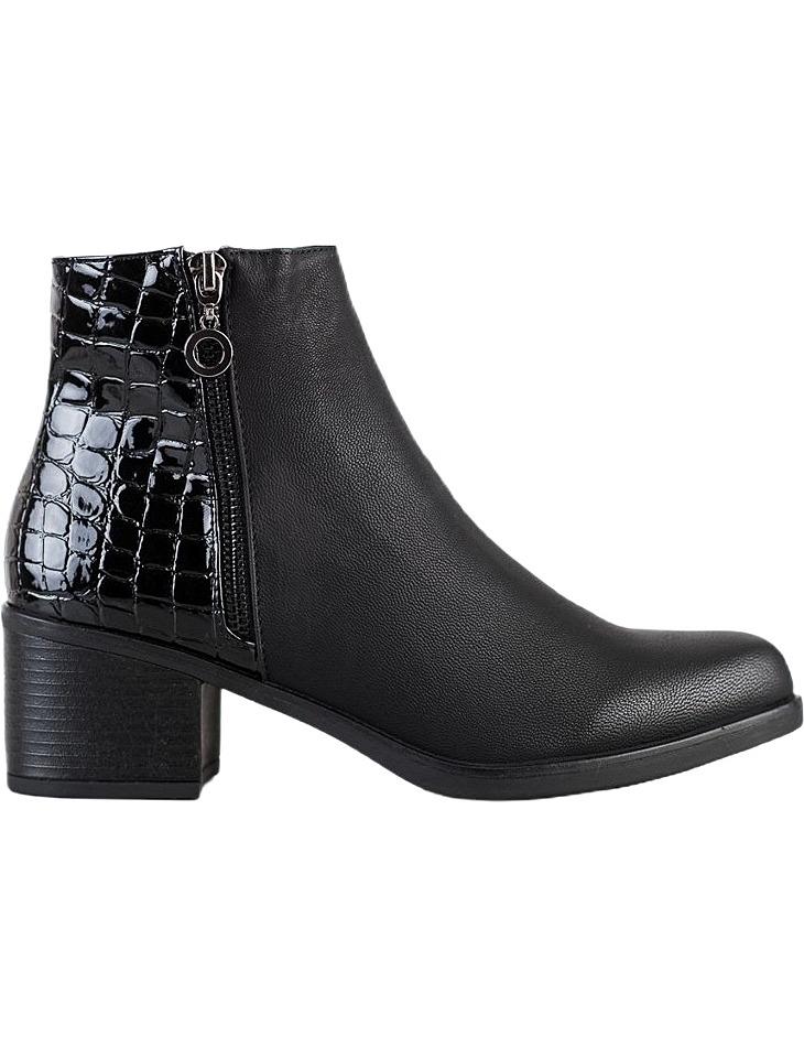 čierne členkové topánky s imitáciou krokodílej kože vel. 36