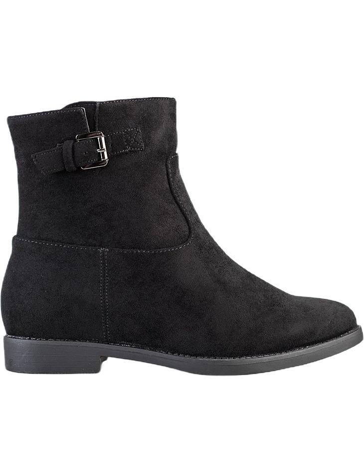 čierne členkové topánky na nízkom kline vel. 39