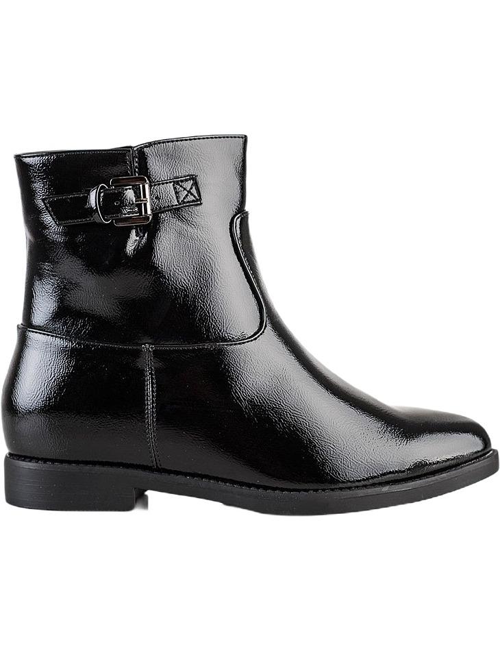 čierne lakované členkové topánky na nízkom kline vel. 36