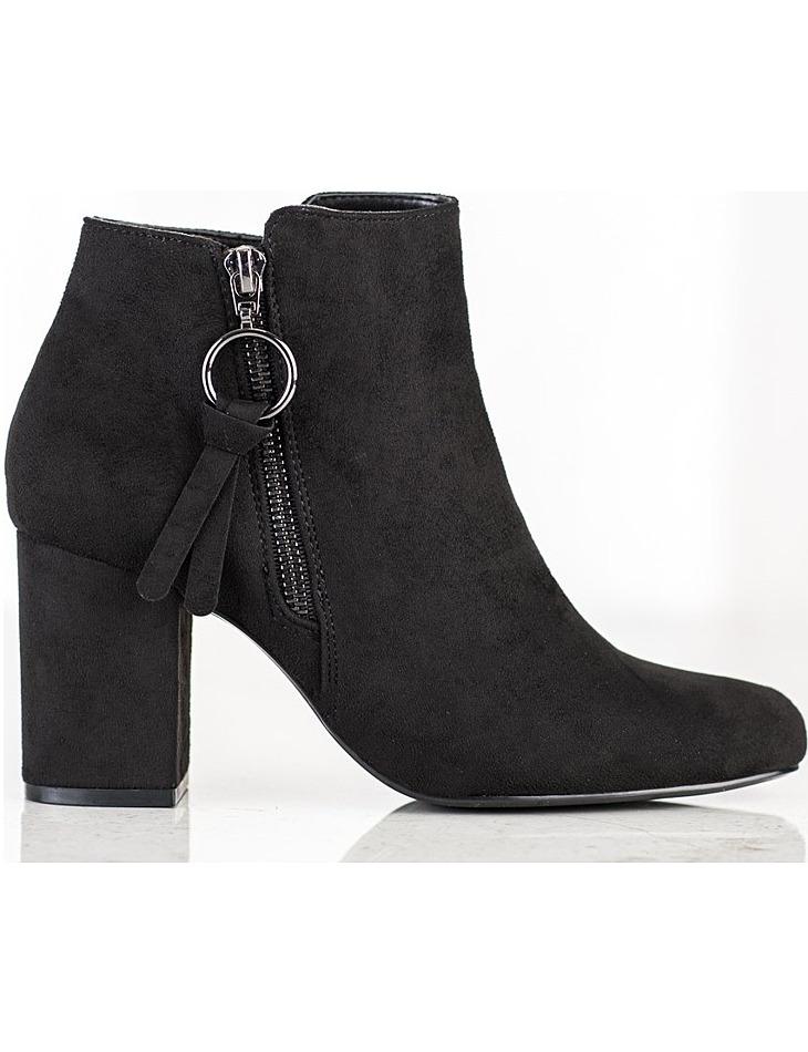 čierne klasické semišové topánky na stĺpiku vel. 39