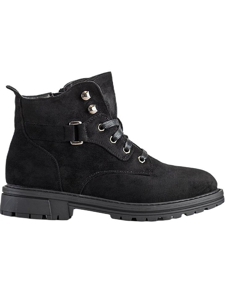 čierne šnurovacie členkové topánky zo semišu vel. 36