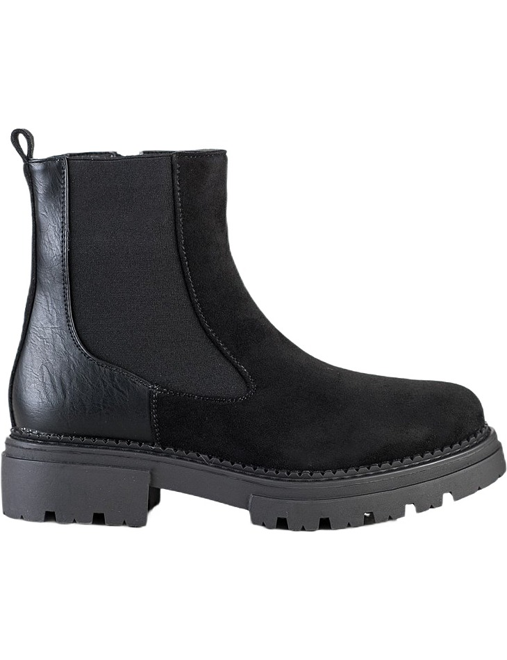 čierne semišové členkové topánky na platforme vel. 36