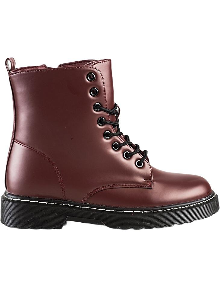 Vínové módne šnurovacie topánky vel. 36