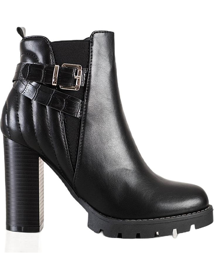 čierne členkové topánky na vysokom podpätku vel. 36