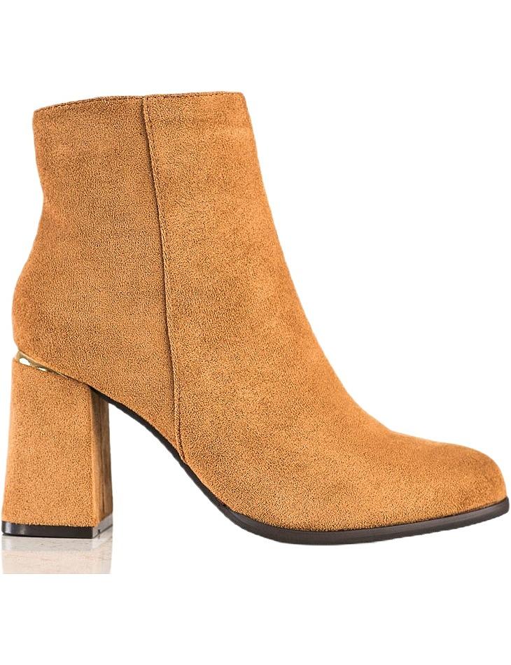 Hnedé semišové členkové topánky na podpätku vel. 36