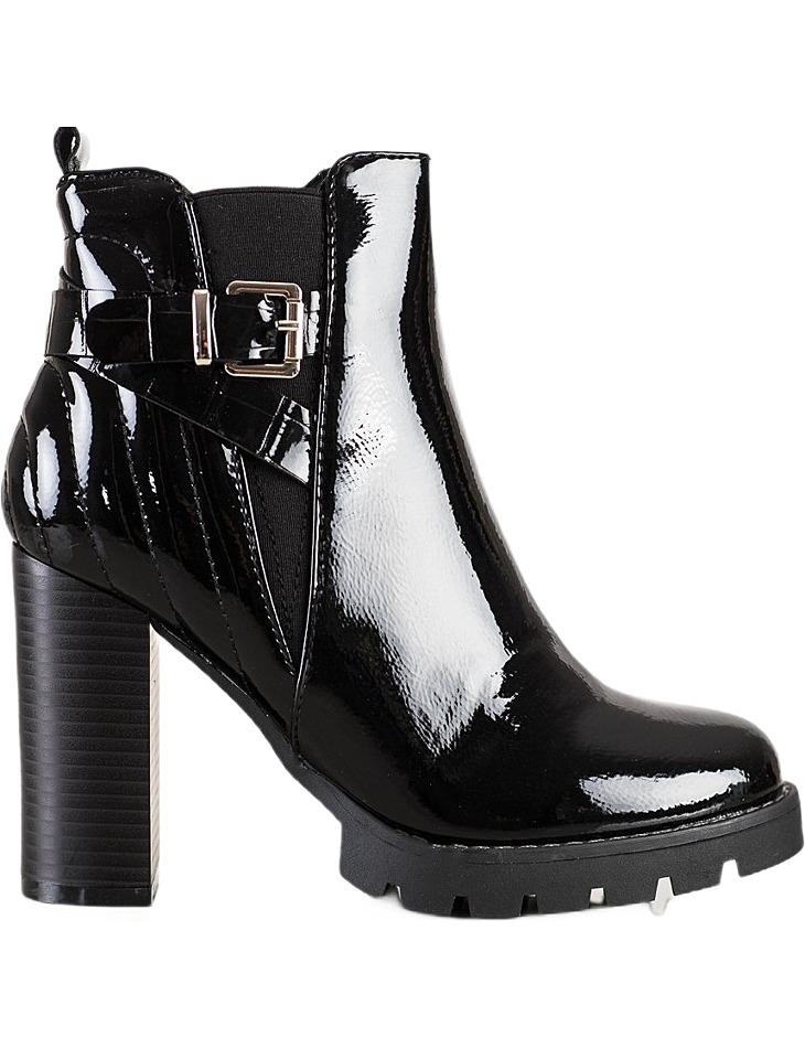 čierne lakované členkové topánky na vysokom podpätku vel. 36