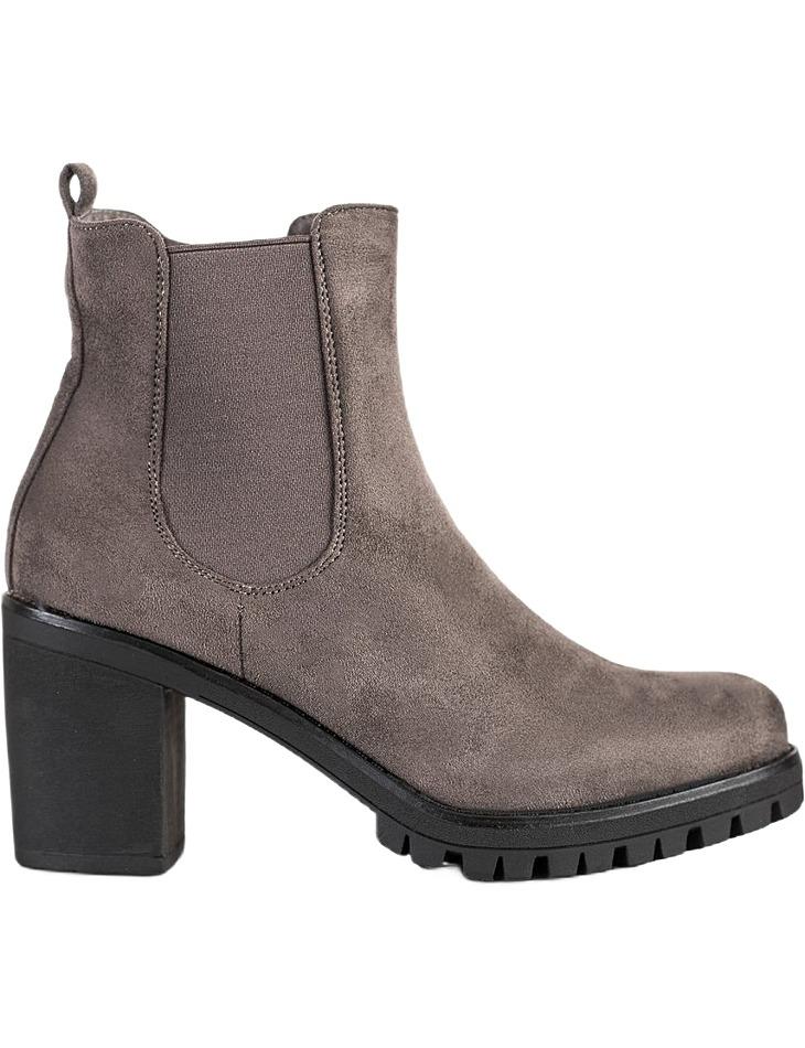 sivé klasické členkové topánky na podpätku vel. 38