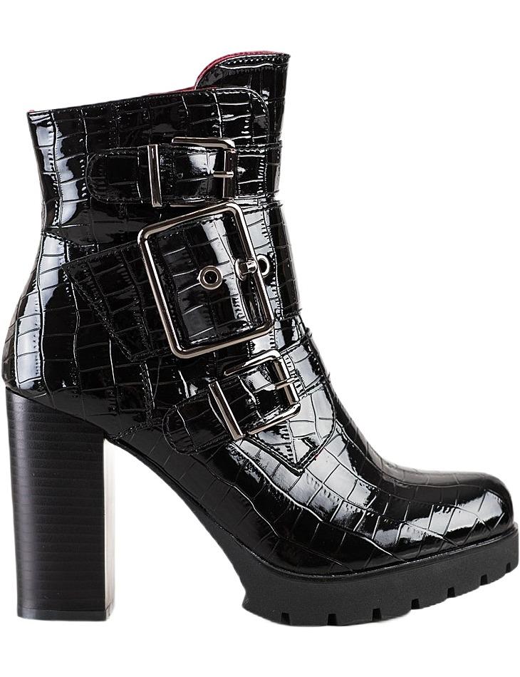 čierne členkové topánky na podpätku fashion vel. 36