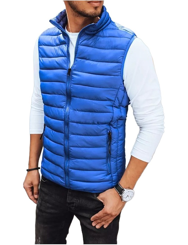 Modrá pánska prešívaná vesta vel. XL