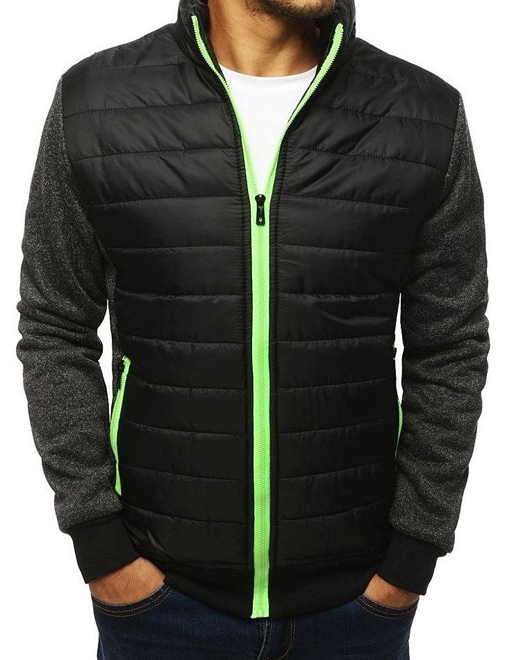 Prechodová bunda s prešívanou vsadkou - čierno-šedá vel. 2XL