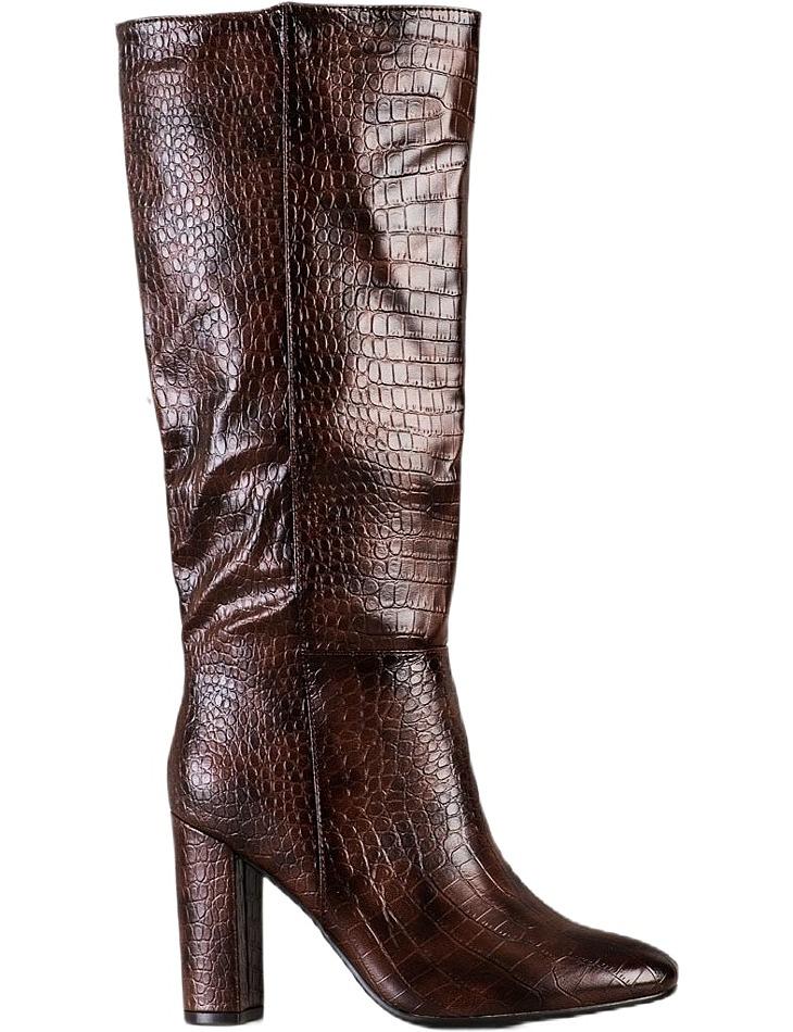 Hnedé čižmy s imitáciou krokodílej kože vel. 39