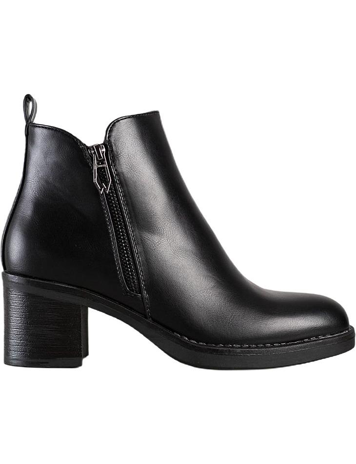 Klasické čierne členkové topánky na zips vel. 36