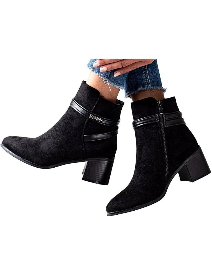čierne semišové členkové topánky vel. 36