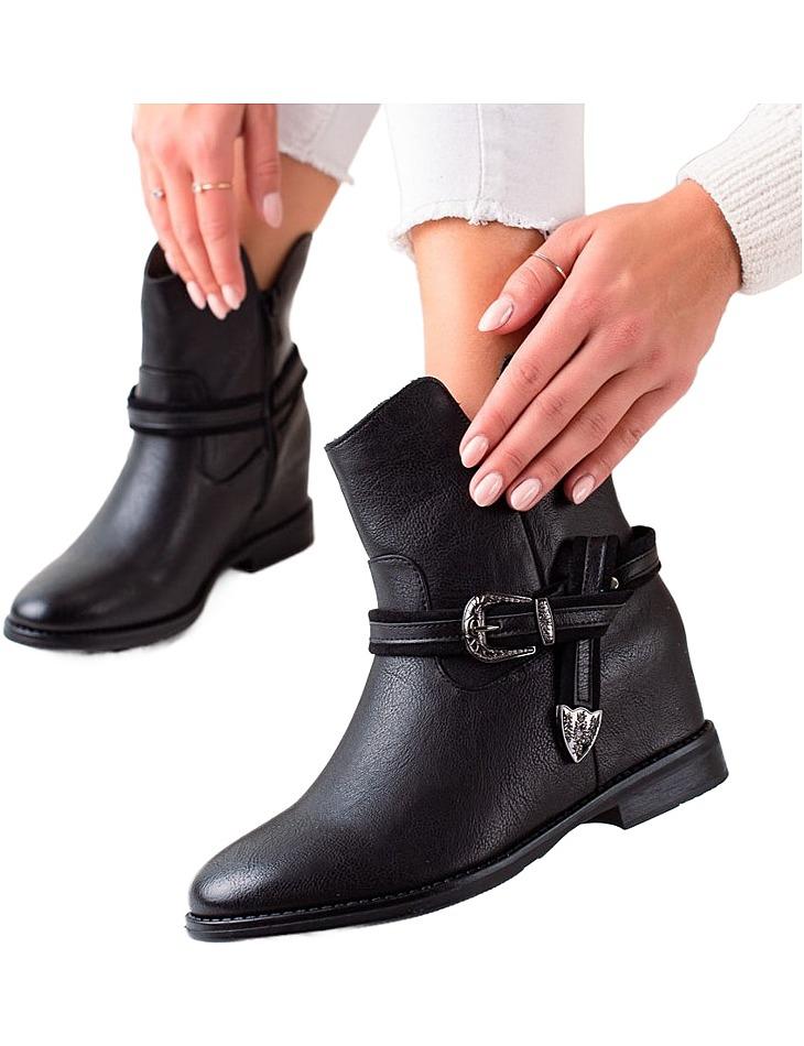 čierne štýlové členkové topánky na kline vel. 36