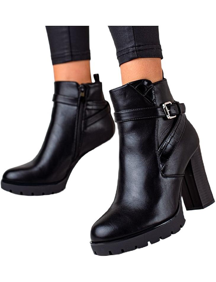 čierne členkové topánky na vysokom stĺpiku vel. 36
