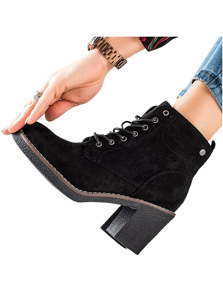 čierne šnurovacie topánky na podpätku vel. 36